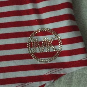 Michael Kors Tops - Michael Kors red/white striped Cotton tank